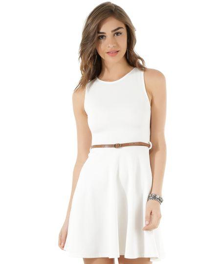 Vestido Texturizado com Cinto Off White