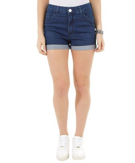 Short Hot Pant Jeans Estampado de Poá Azul Escuro