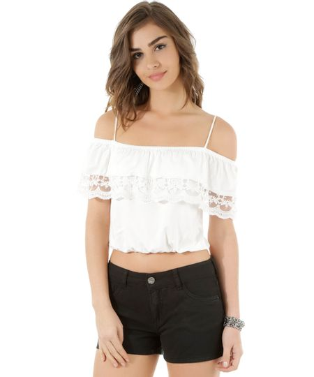 Regata Cropped Open Shoulder com Renda Off White