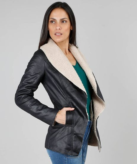 7dafd9e5c Casaco Sobretudo Feminino Preto em promoção - Compre Online ...
