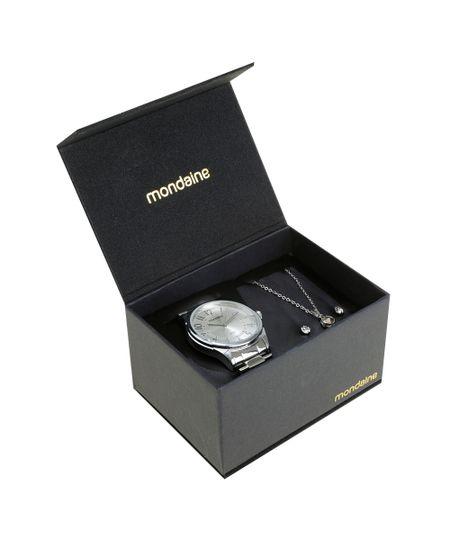Kit de Relógio Analógico Mondaine Feminino + Colar + Brinco - 83317L0MKNE1K Prateado