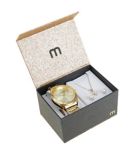 Kit de Relógio Analógico Mondaine Feminino + Colar + Brinco - 3505LPMGDE1K Dourado