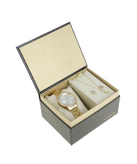 Kit de Relógio Analógico Lince Feminino + Colar + Brinco - LRG4283L2-K189S2KX Dourado