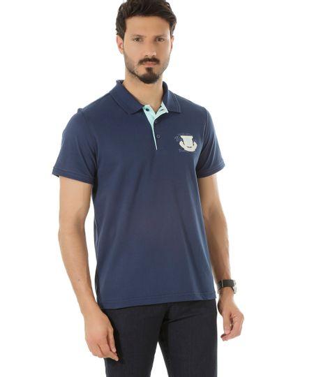 Polo em Piquet com Bordado Azul Marinho