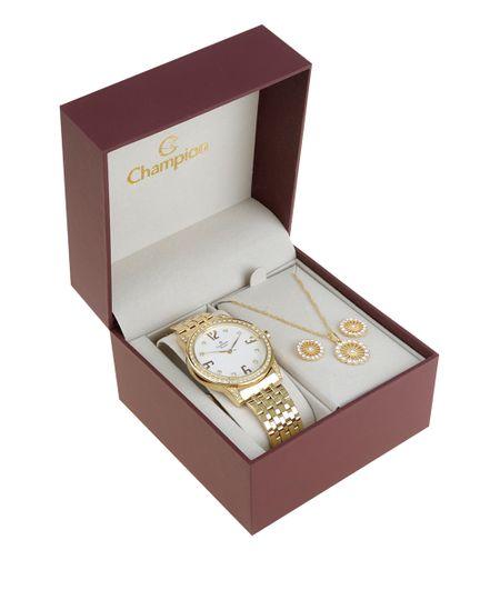 Kit de Relógio Champion Feminino Analógico + Colar + Brinco - CH25927H-W Dourado