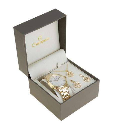 Kit de Relógio Champion Feminino Analógico + Colar + Brinco - CN26368H-W Dourado