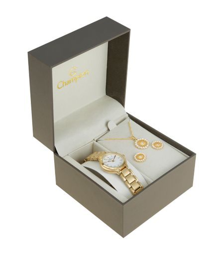 Kit de Relógio Champion Feminino Analógico + Colar + Brinco - CH26944H-W Dourado