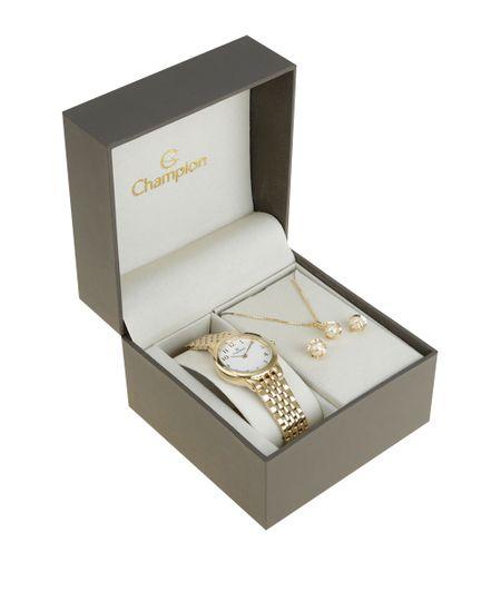 Kit de Relógio Champion Feminino Analógico + Colar + Brinco - CH24795H-W Dourado