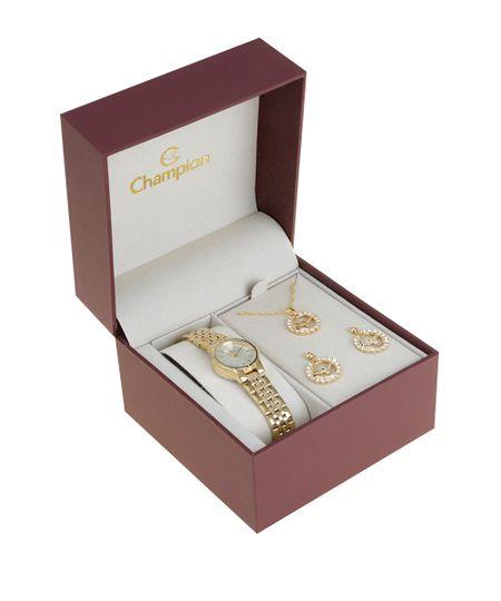 Kit de Relógio Champion Feminino Analógico + Colar + Brinco - CH25230H-W Dourado