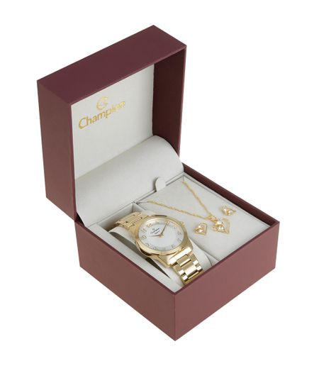 Kit de Relógio Champion Feminino Analógico + Colar + Brinco - CN26386H-W Dourado