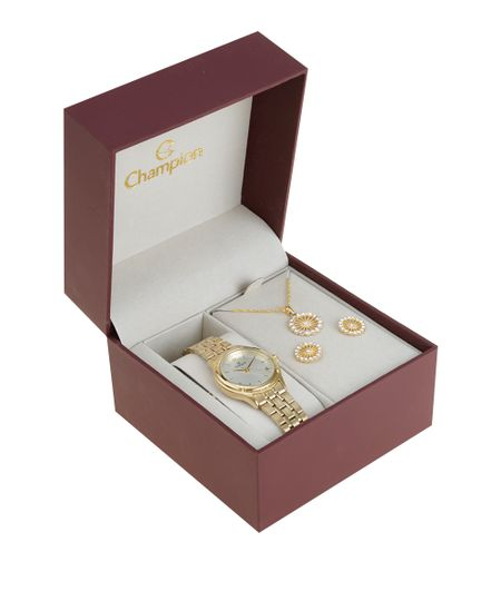 Kit de Relógio Champion Feminino Analógico + Colar + Brinco - CH25730H-W Dourado