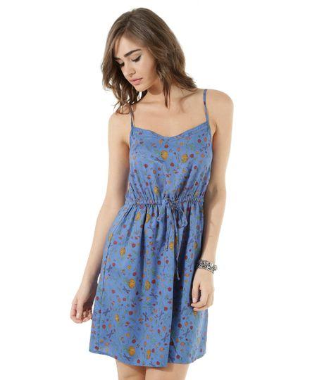 Vestido Estampado Floral Azul