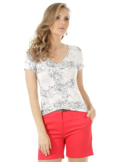 Blusa Estampada Floral Off White