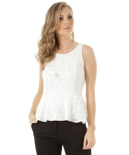 Regata Peplum em Renda Off White
