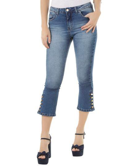 Calça Jeans Cropped Flare Azul Médio