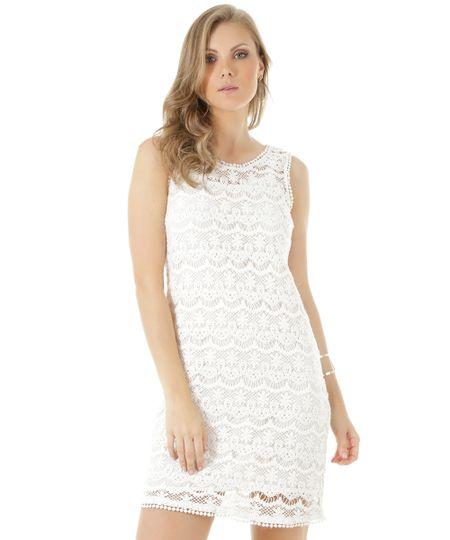 Vestido em Guipir Off White