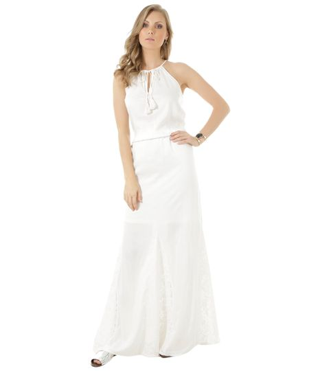 Vestido Longo com Renda Off White