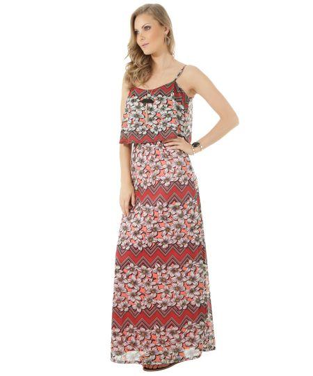 Vestido Longo Estampado Floral Vermelho
