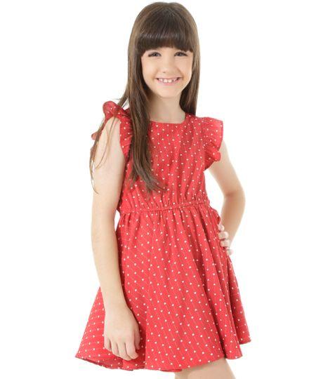 Vestido Estampado de Corações Vermelho