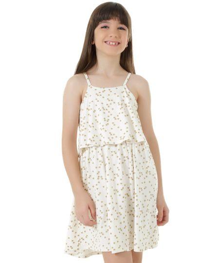 Vestido Estampado de Estrelas Off White