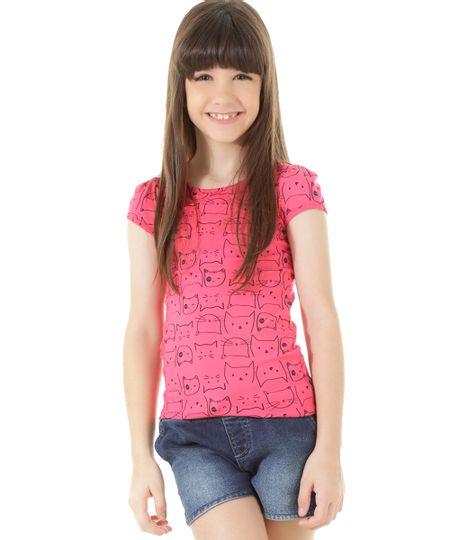 Blusa Estampada de Gatinhos Pink