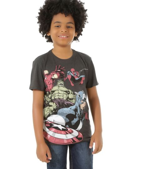 Camiseta Os Vingadores Cinza Mescla Escuro