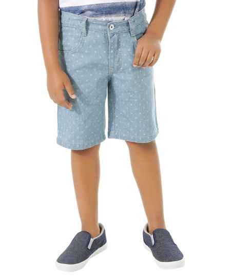 Bermuda Jeans Estampada Azul Claro