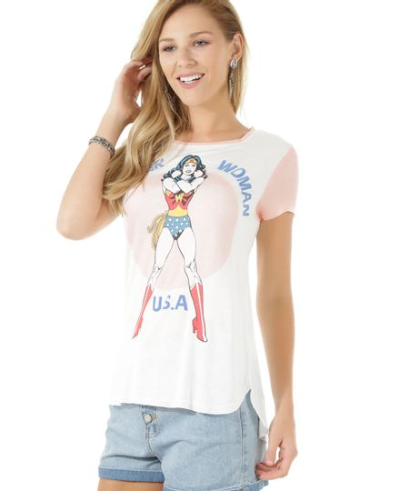 Blusa Mulher Maravilha Off White