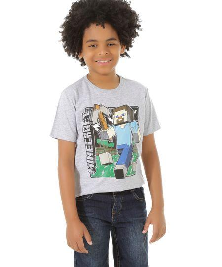 Camiseta Minecraft Cinza Mescla