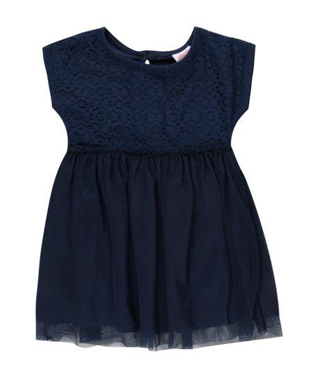 Vestido de Renda com Tule + Faixa de Cabelo Azul Marinho