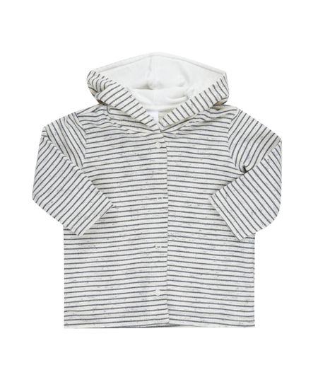 Blusão Unissex em Moletom Listrado Off White