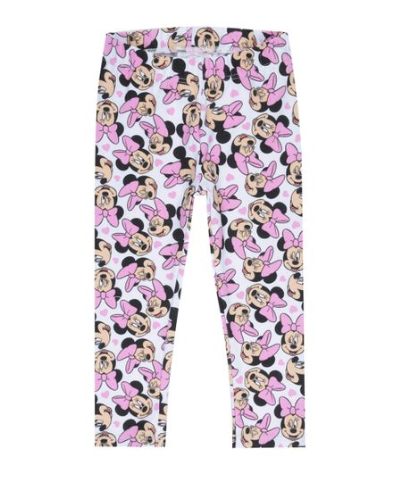 Calça Legging Estampada Minnie Off White