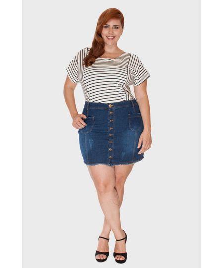 Saia Jeans Botões Plus Size