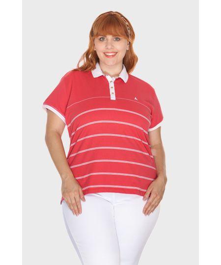 Blusa Polo Listrada Plus Size
