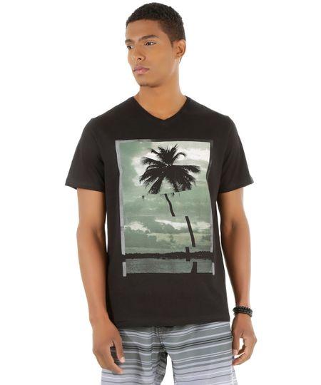 Camiseta com Estampa de Coqueiro Preta