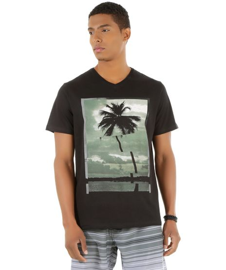 Camiseta-com-Estampa-de-Coqueiro-Preta-8505762-Preto_1