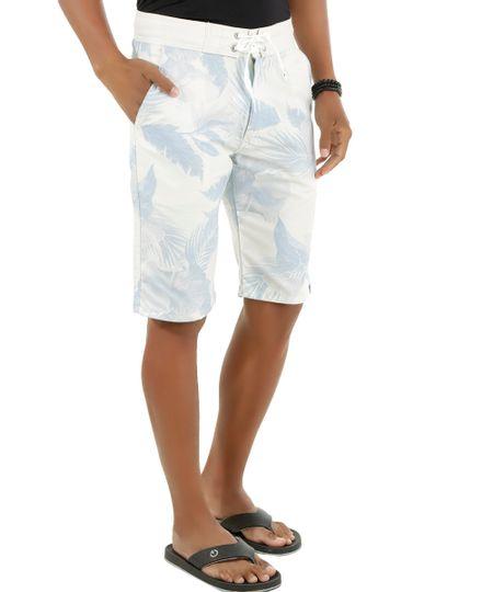 Bermuda Estampada de Folhagens Off White
