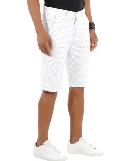 Bermuda Slim Estampada Branca