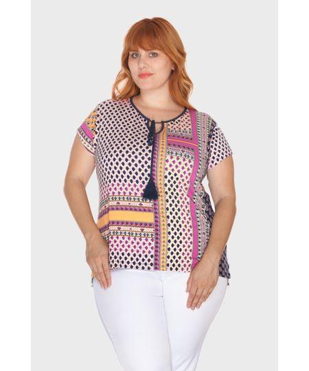 Blusa Tassel Estampada Plus Size