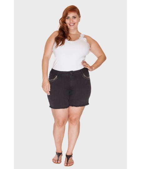 Shorts Preto Bordado Plus Size