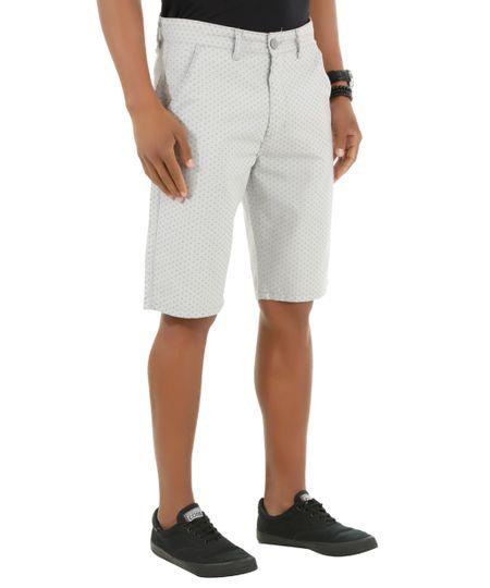 Bermuda Slim Estampada Cinza Claro