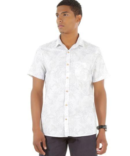 Camisa Estampada de Folhagens Branca