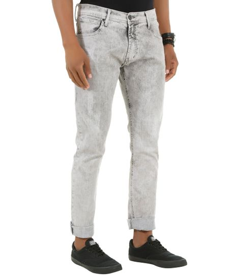 Calça Jeans Skinny Cinza