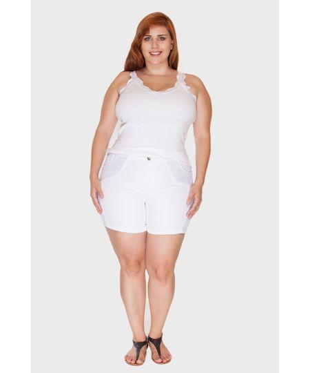 Short Branco Renda Plus Size