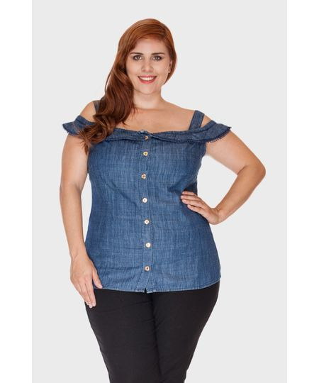 Ciganinha Jeans Guipir Plus Size