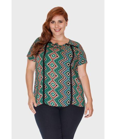 Blusa Estampada Entremeio Plus Size