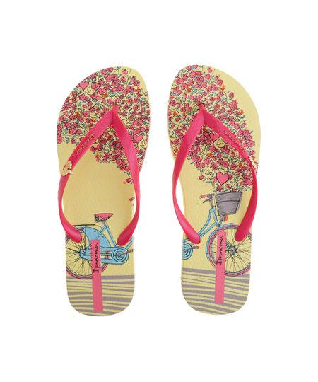 Chinelo Ipanema Floral Amarelo