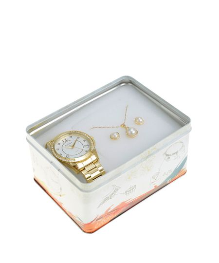 Kit de Relógio Condor Feminino Analógico + Colar + Brinco - CO2036CH/K4K Dourado