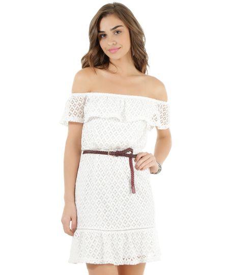 Vestido Ombro a Ombro em Renda Off White