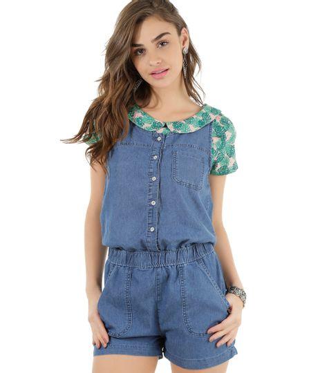 Macaquinho Jeans Azul Médio